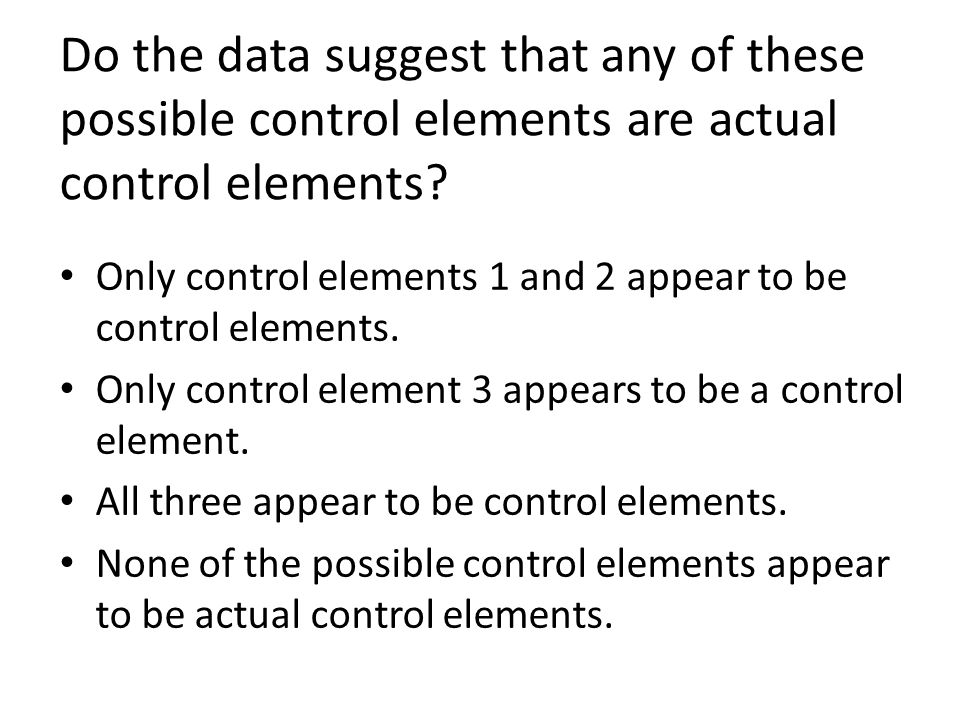 Do the data suggest that any of these possible control elements are actual control elements