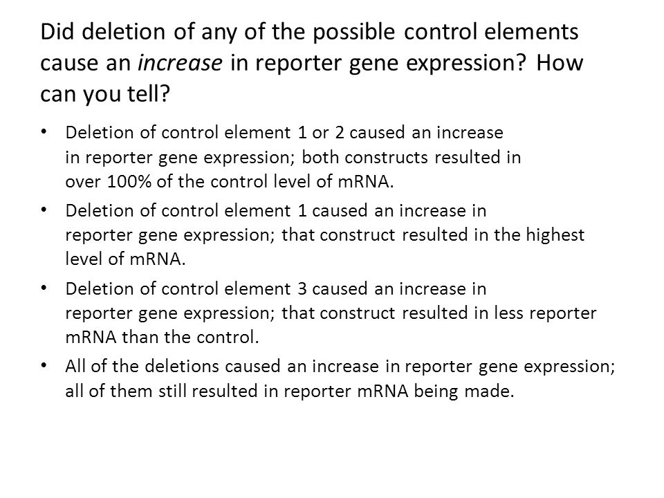 Did deletion of any of the possible control elements cause an increase in reporter gene expression How can you tell