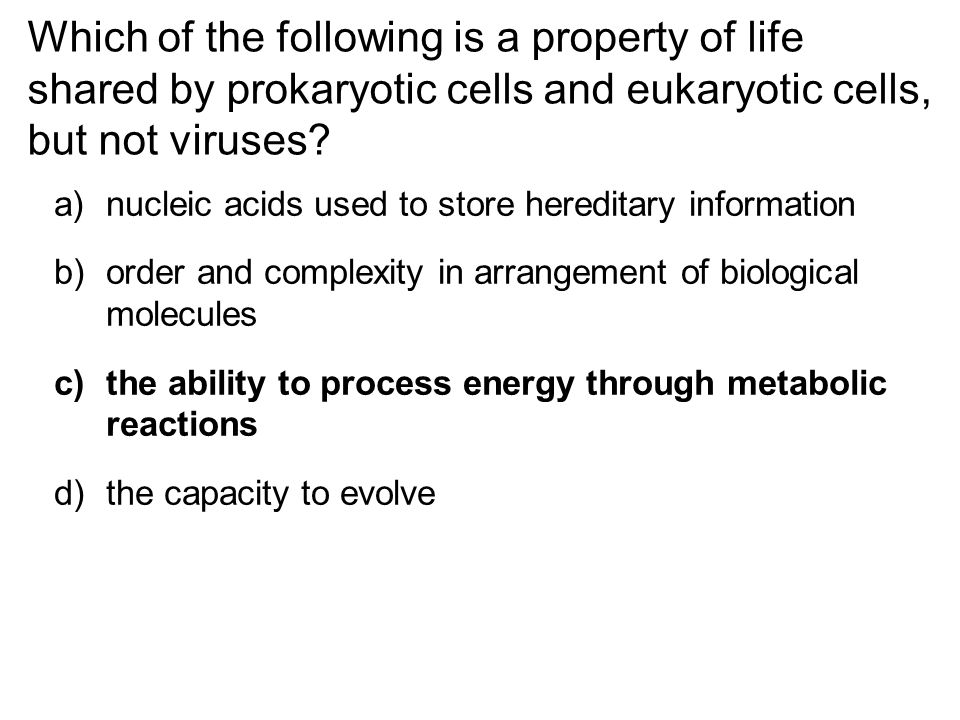 Which of the following is a property of life shared by prokaryotic cells and eukaryotic cells, but not viruses