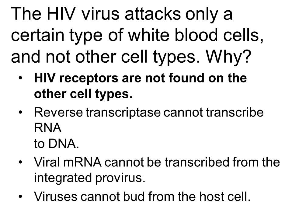 The HIV virus attacks only a certain type of white blood cells, and not other cell types. Why