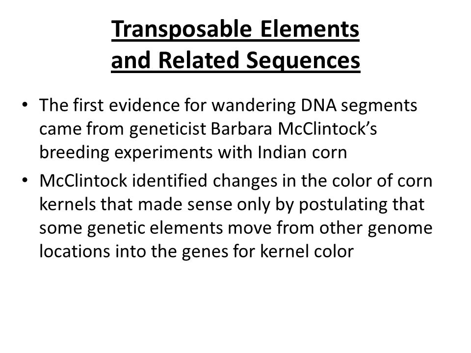 Transposable Elements and Related Sequences