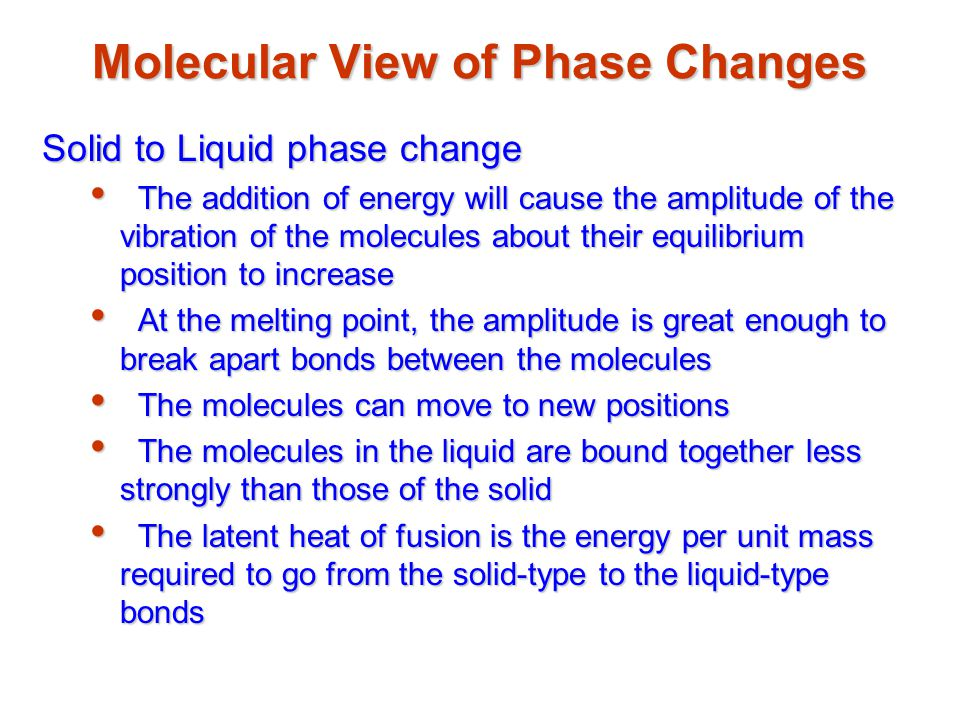 Molecular View of Phase Changes