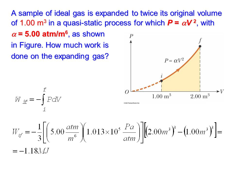 A sample of ideal gas is expanded to twice its original volume of 1