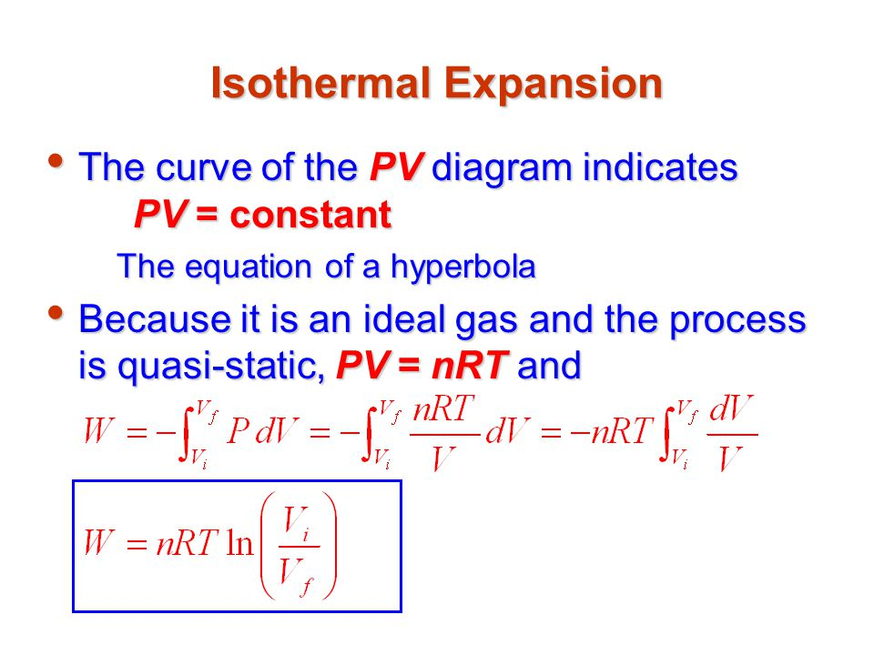 Isothermal Expansion The curve of the PV diagram indicates PV = constant. The equation of a hyperbola.