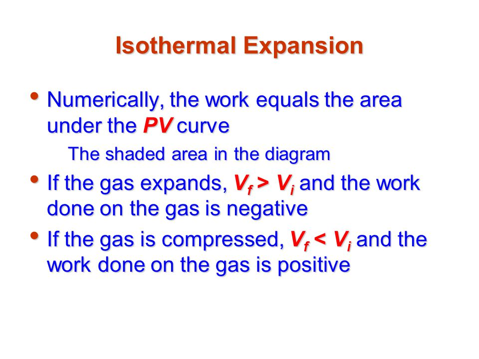 Isothermal Expansion Numerically, the work equals the area under the PV curve. The shaded area in the diagram.