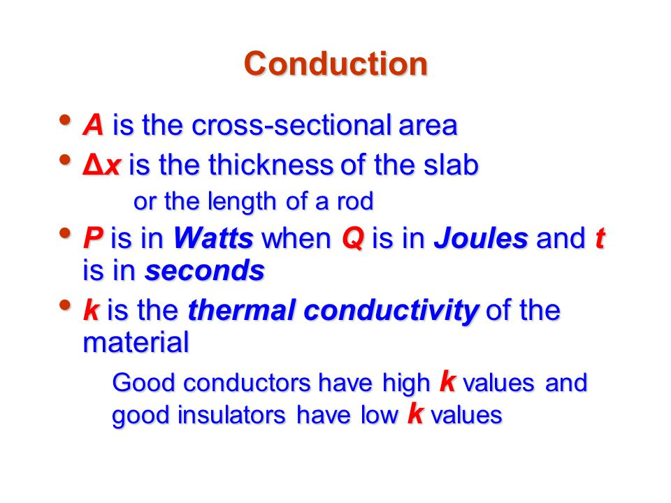 Conduction A is the cross-sectional area