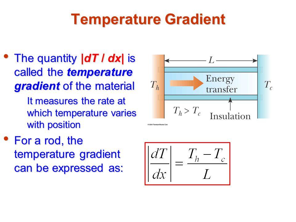 Temperature Gradient The quantity |dT / dx| is called the temperature gradient of the material.