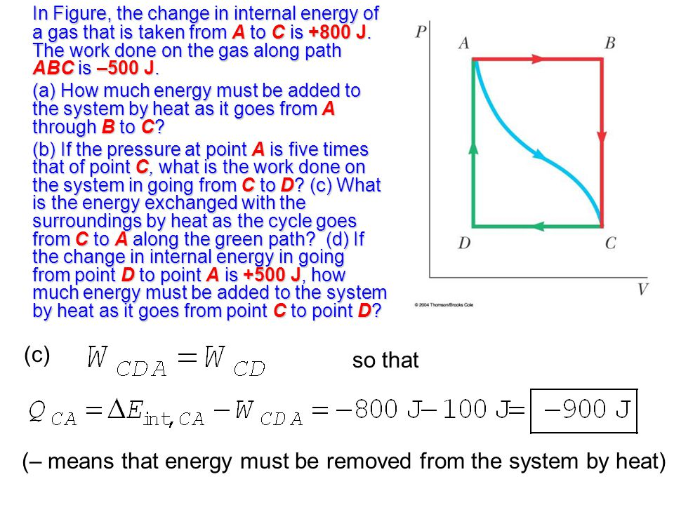 (– means that energy must be removed from the system by heat)