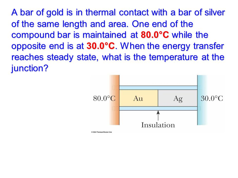 A bar of gold is in thermal contact with a bar of silver of the same length and area.