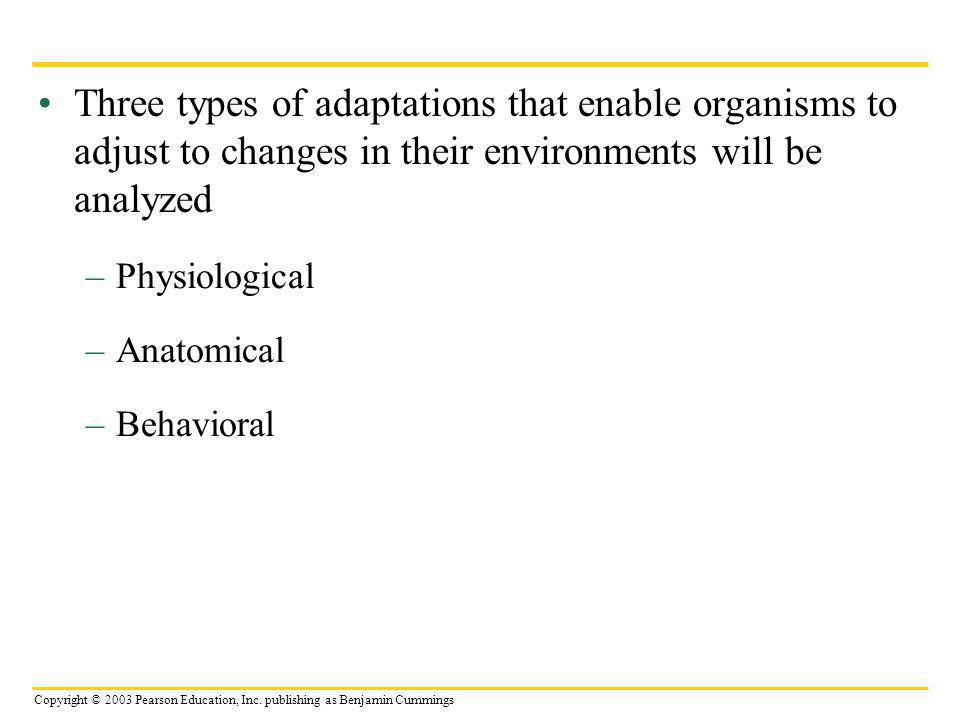 Three types of adaptations that enable organisms to adjust to changes in their environments will be analyzed