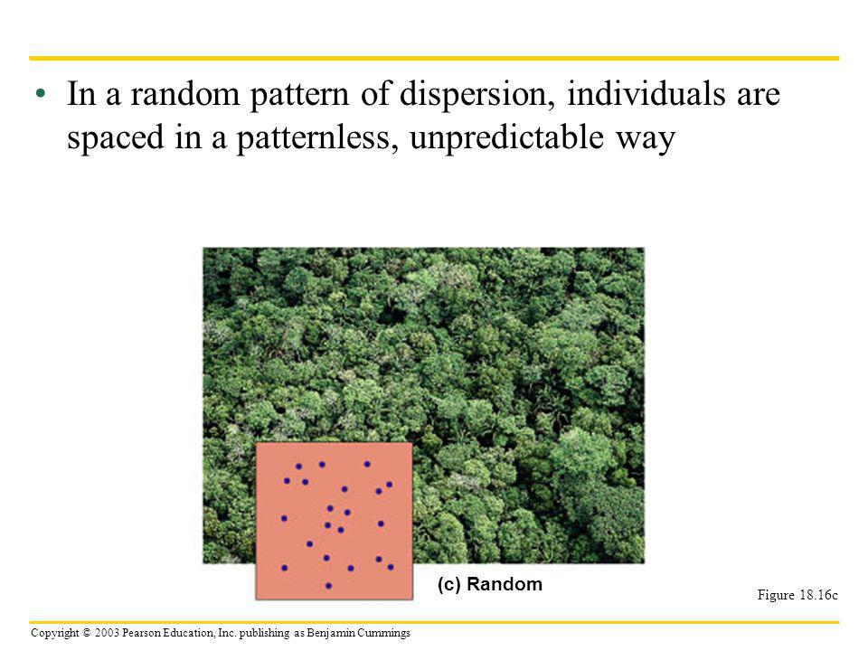 In a random pattern of dispersion, individuals are spaced in a patternless, unpredictable way