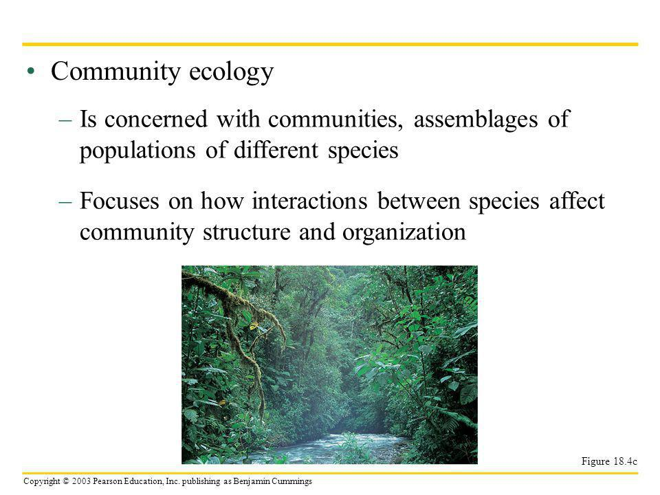Community ecology Is concerned with communities, assemblages of populations of different species.