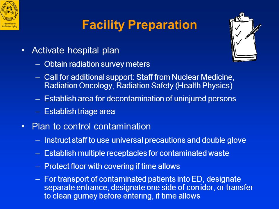 Facility Preparation Activate hospital plan