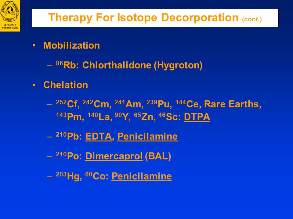 Therapy For Isotope Decorporation (cont.)