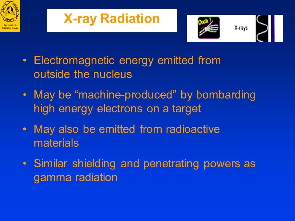 X-ray Radiation Electromagnetic energy emitted from outside the nucleus. May be machine-produced by bombarding high energy electrons on a target.