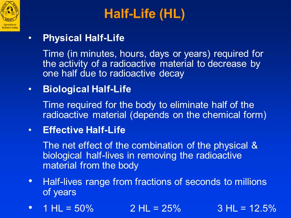 Half-Life (HL) Physical Half-Life Biological Half-Life