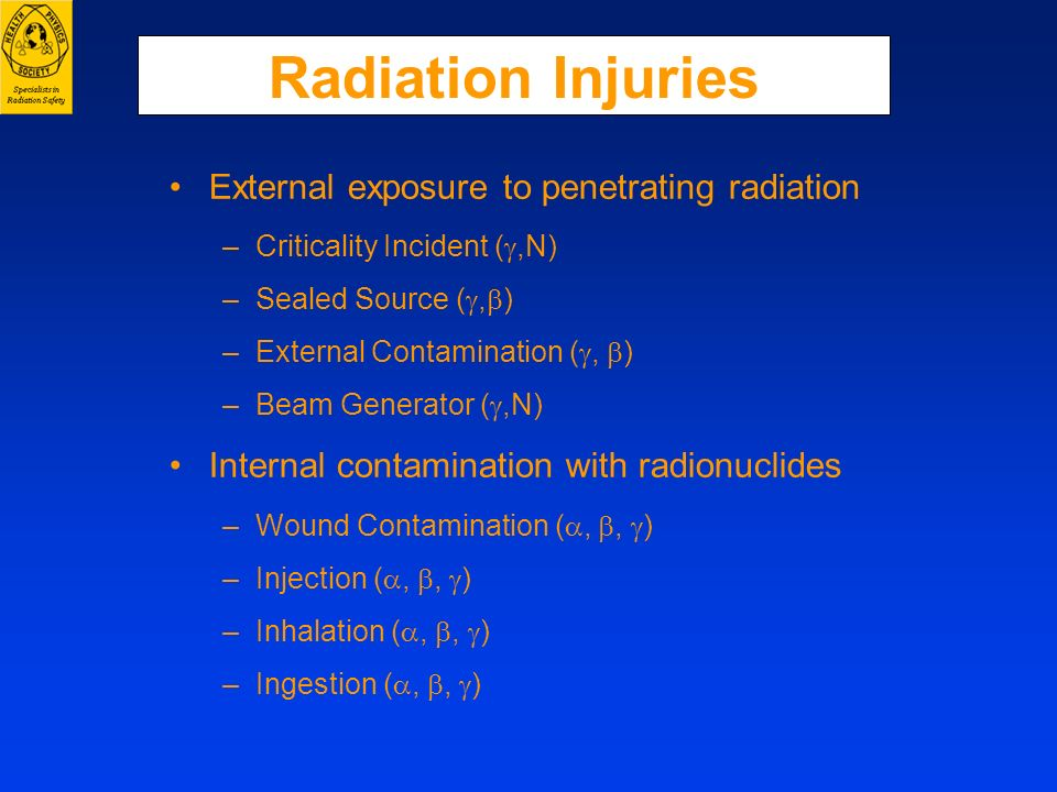 Radiation Injuries External exposure to penetrating radiation