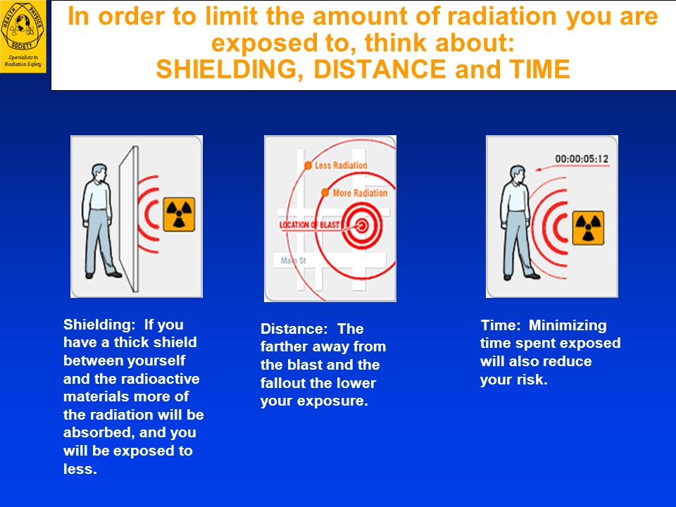 In order to limit the amount of radiation you are exposed to, think about: SHIELDING, DISTANCE and TIME