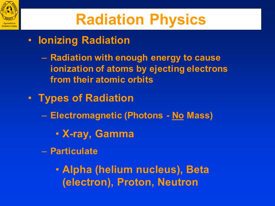 Radiation Physics Ionizing Radiation Types of Radiation X-ray, Gamma