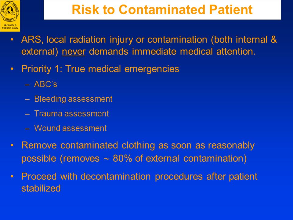 Risk to Contaminated Patient