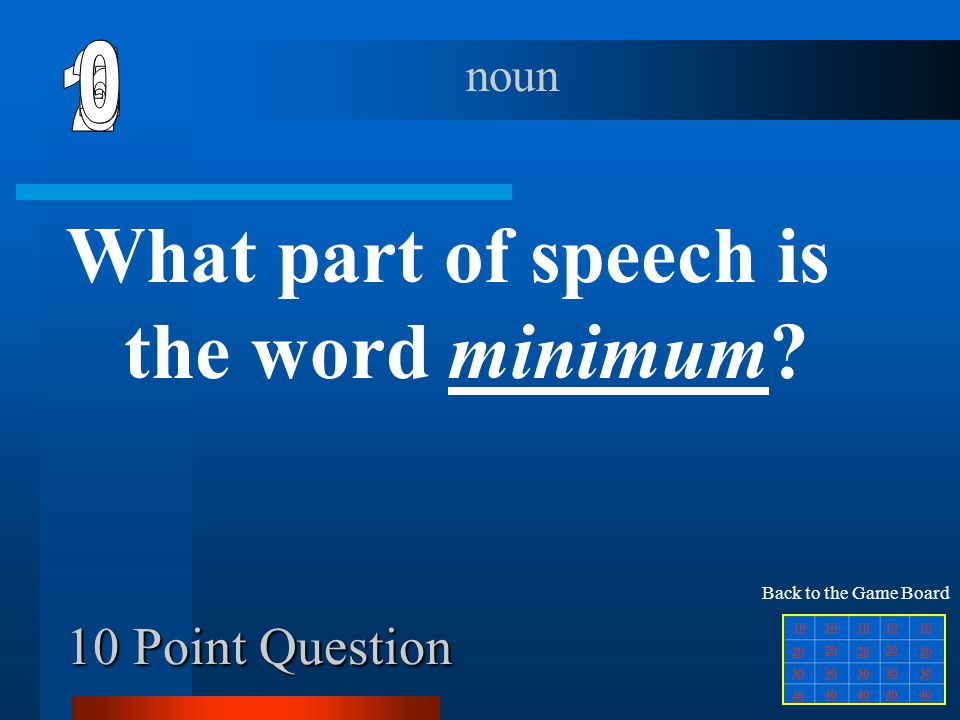 What part of speech is the word minimum