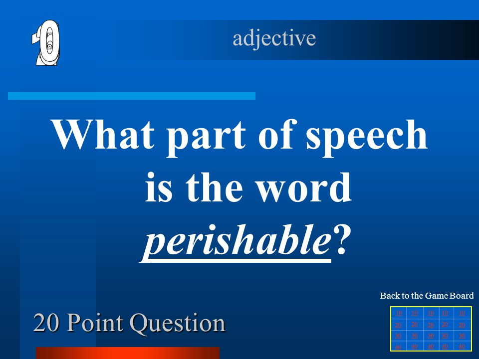 What part of speech is the word perishable