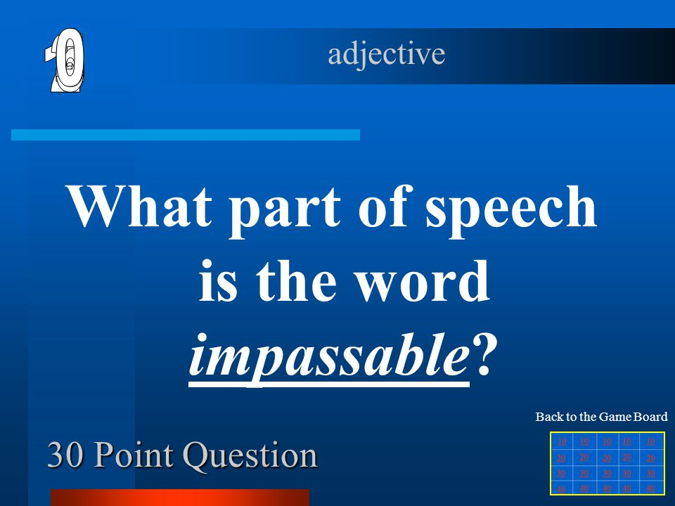 What part of speech is the word impassable