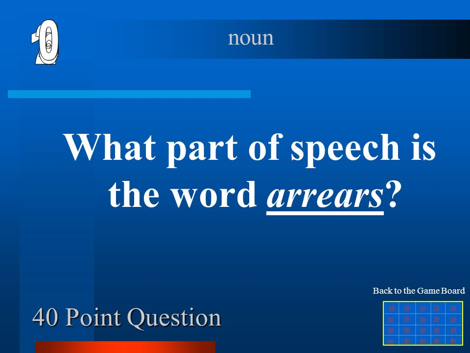 What part of speech is the word arrears