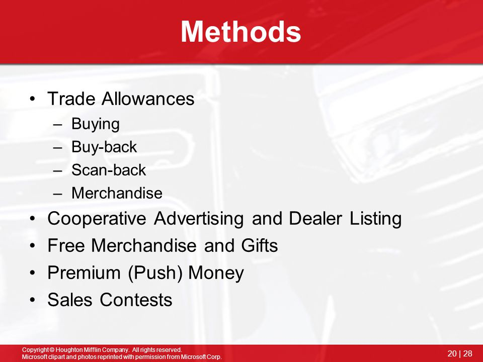 Methods Trade Allowances Cooperative Advertising and Dealer Listing