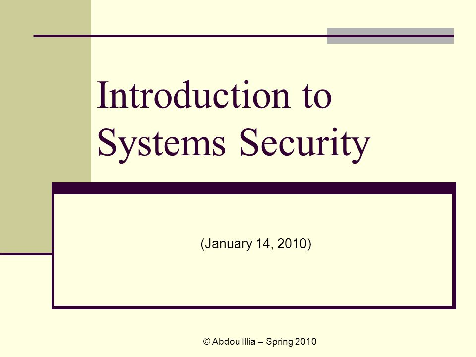 Introduction to Systems Security