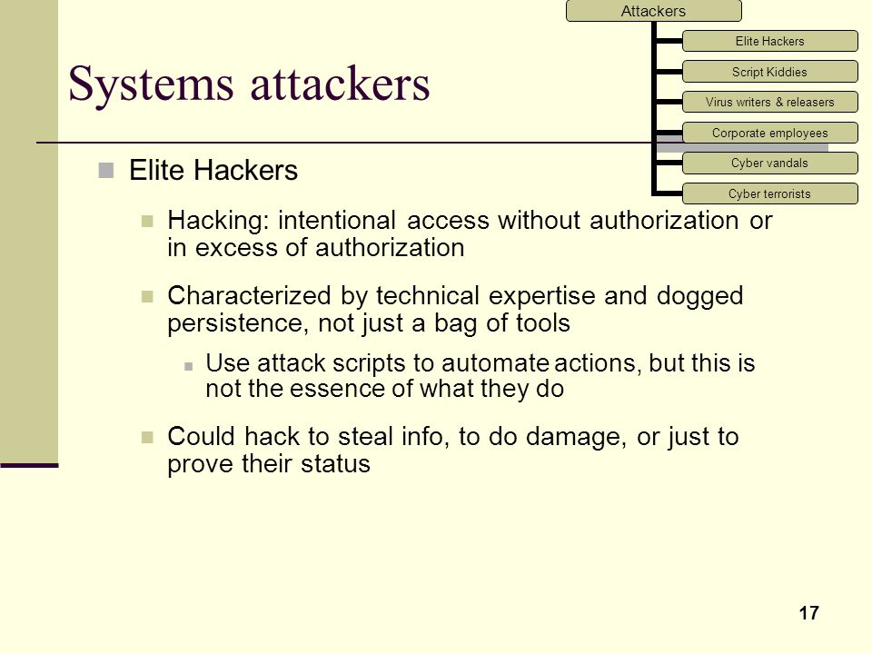 Systems attackers Elite Hackers
