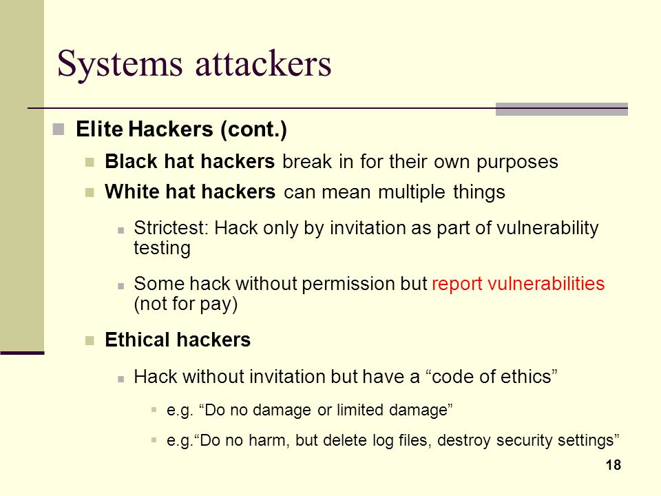 Systems attackers Elite Hackers (cont.)