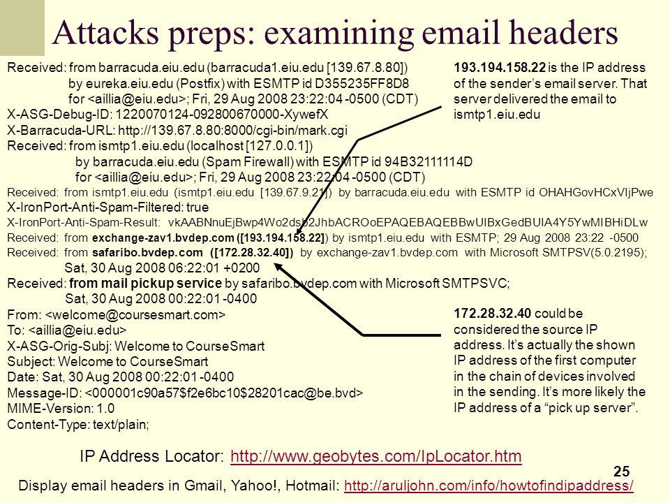Attacks preps: examining email headers