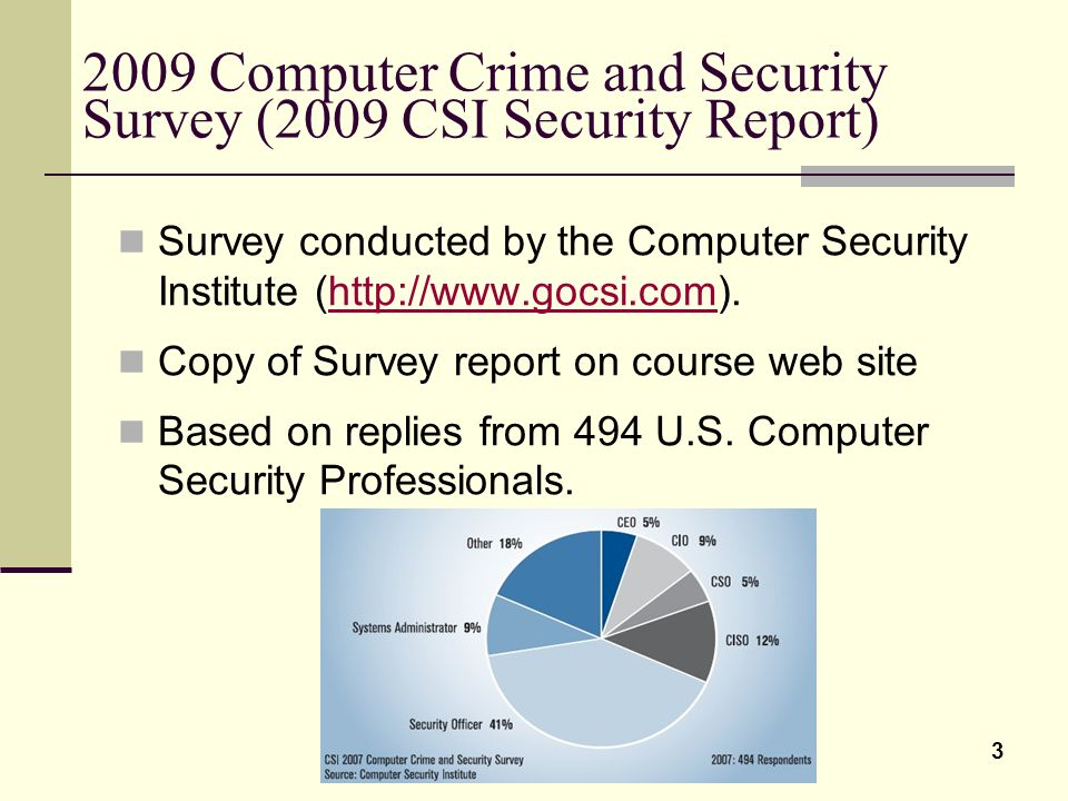 2009 Computer Crime and Security Survey (2009 CSI Security Report)