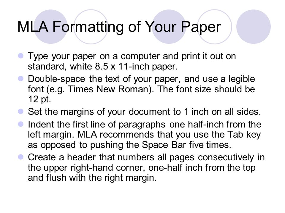 MLA Formatting of Your Paper