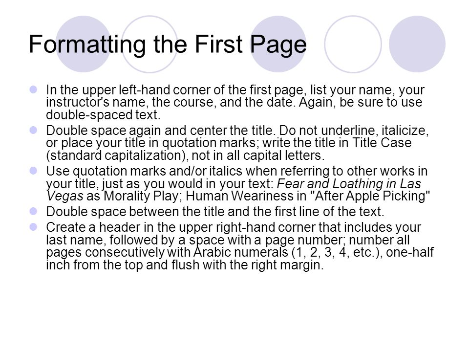 Formatting the First Page