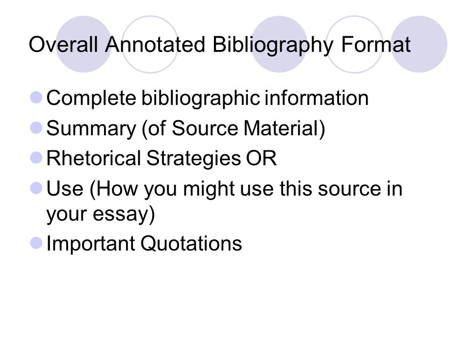 Overall Annotated Bibliography Format