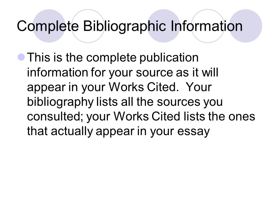 Complete Bibliographic Information