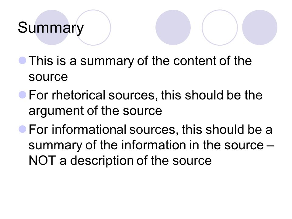 Summary This is a summary of the content of the source
