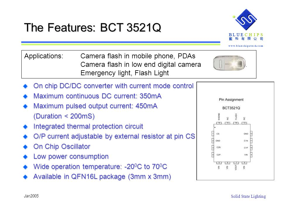 The Features: BCT 3521Q Applications: Camera flash in mobile phone, PDAs. Camera flash in low end digital camera.