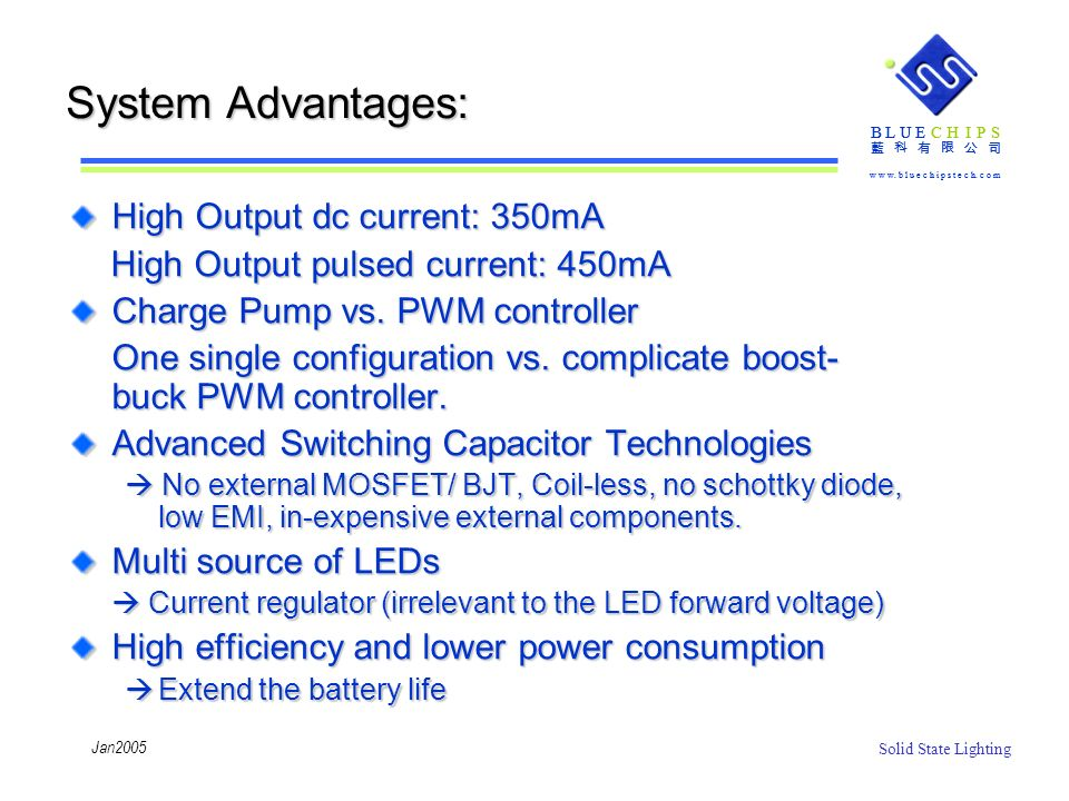 System Advantages: High Output dc current: 350mA
