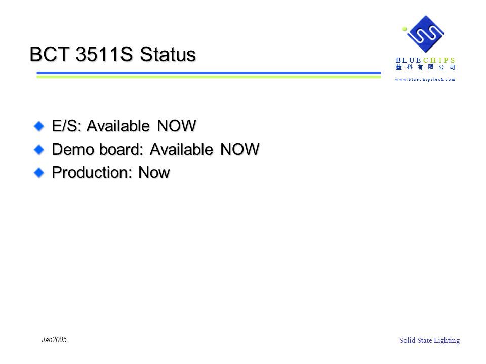 BCT 3511S Status E/S: Available NOW Demo board: Available NOW