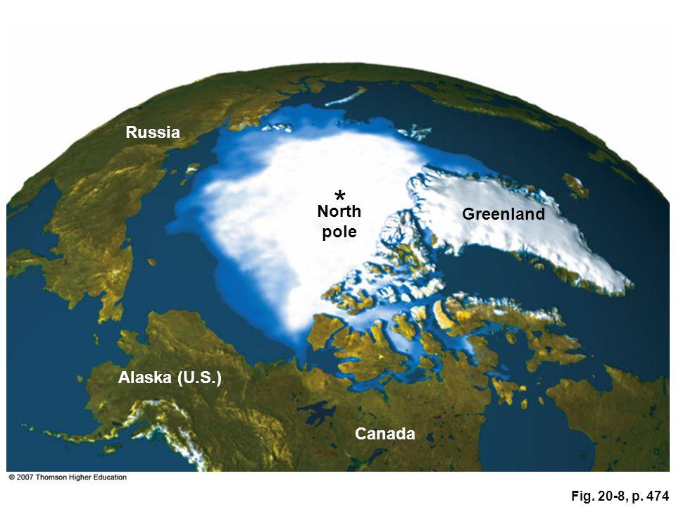* Russia North Greenland pole Alaska (U.S.) Canada Fig. 20-8, p. 474