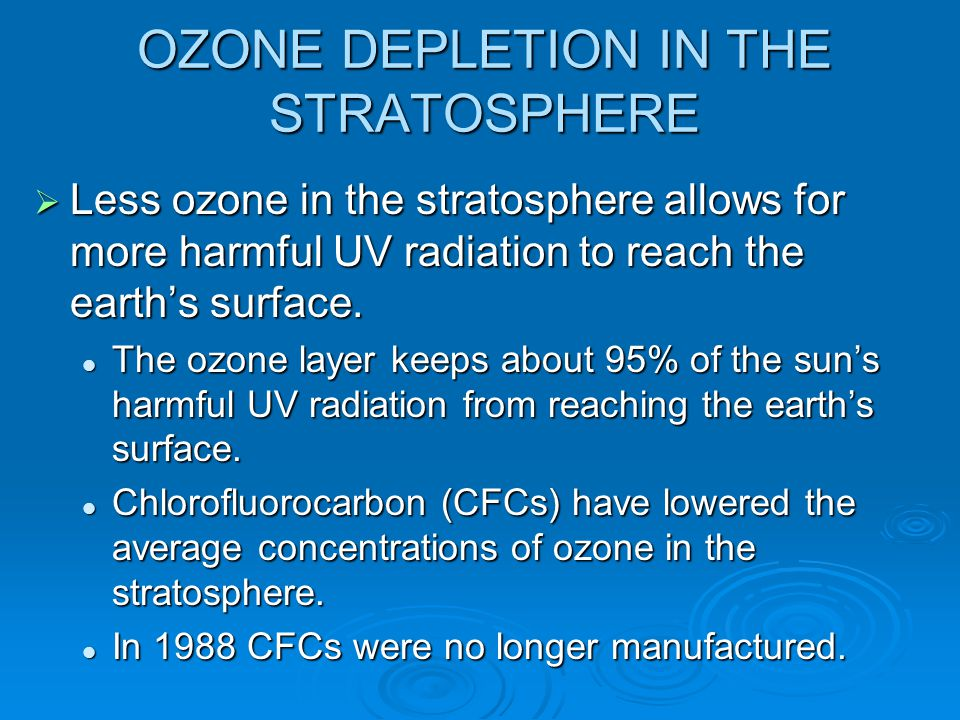 OZONE DEPLETION IN THE STRATOSPHERE