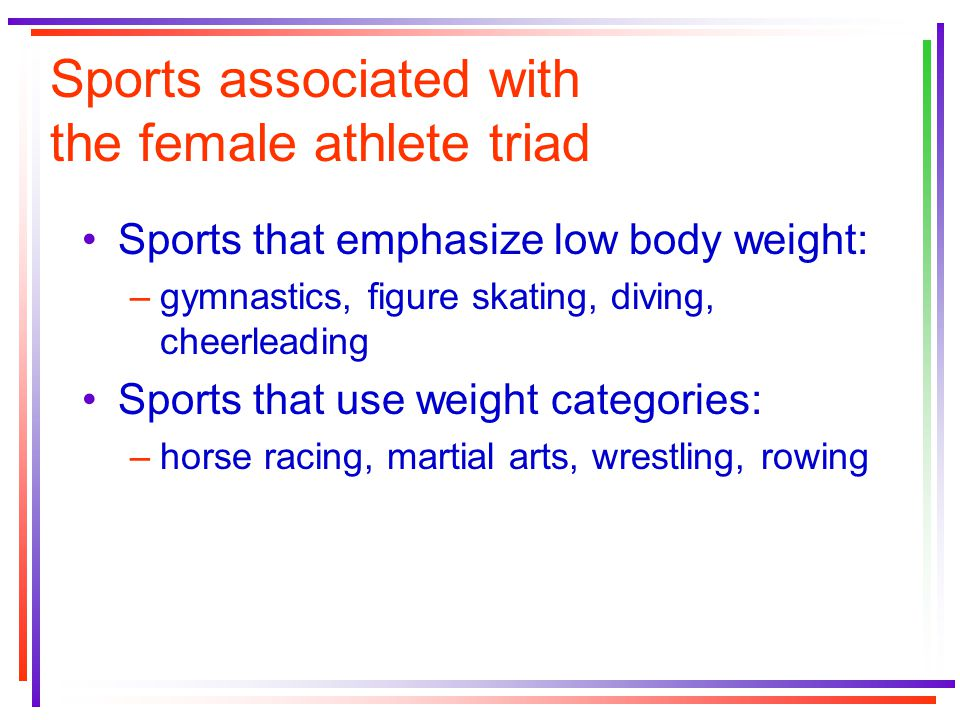 Sports associated with the female athlete triad