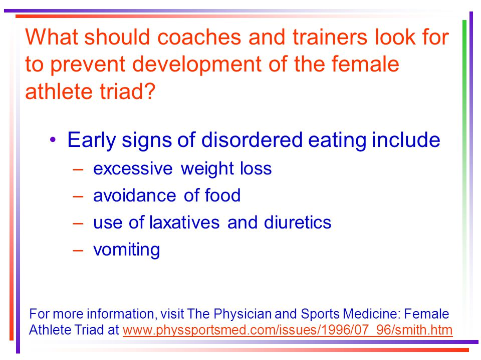 What should coaches and trainers look for to prevent development of the female athlete triad