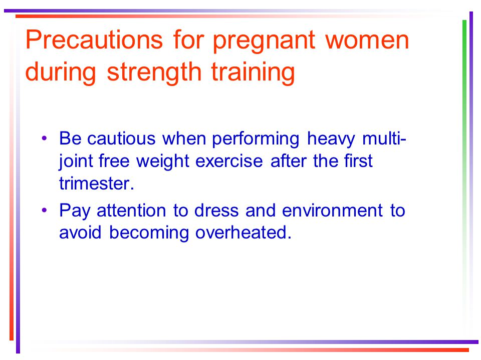 Precautions for pregnant women during strength training