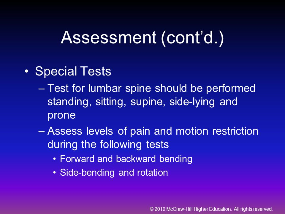 Assessment (cont'd.) Special Tests