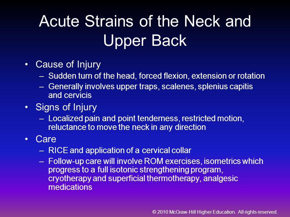 Acute Strains of the Neck and Upper Back