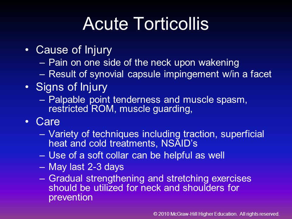 Acute Torticollis Cause of Injury Signs of Injury Care